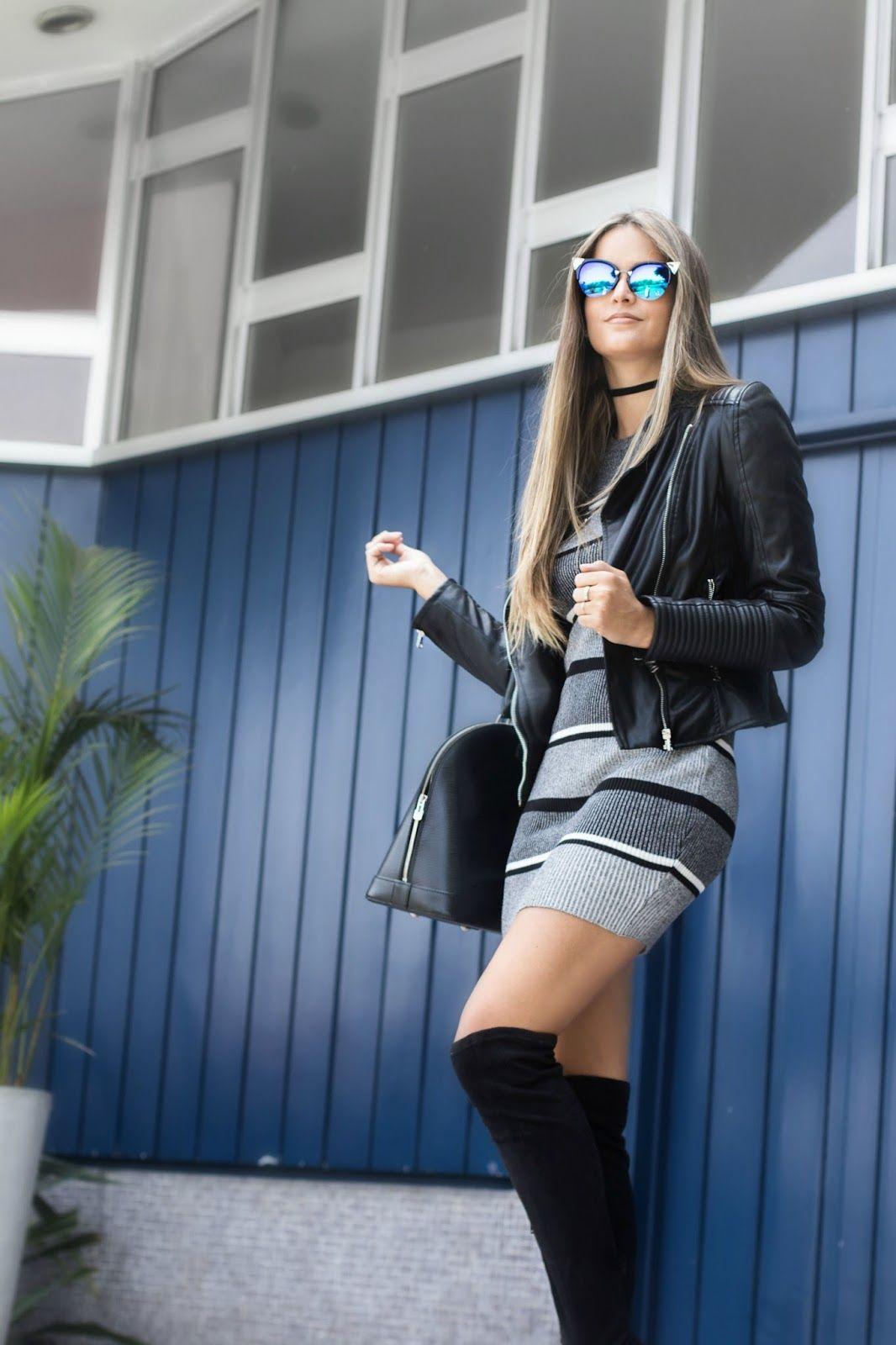lovely outfit vestido negro botas largas de