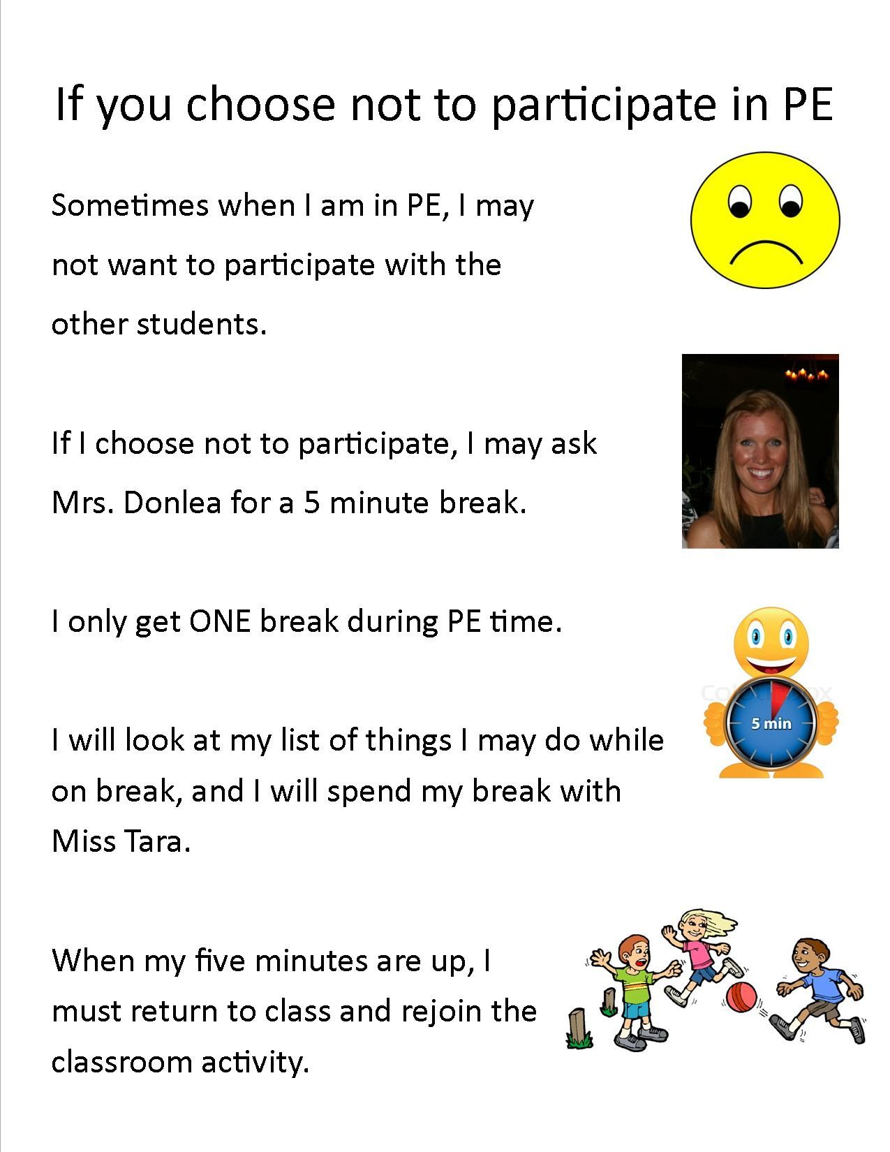 Social Story For Autistic Pe Students Not Participating