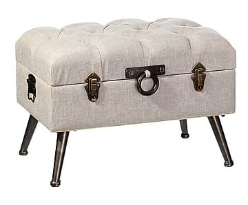 Banqueta/baúl de hierro, madera DM y algodón I