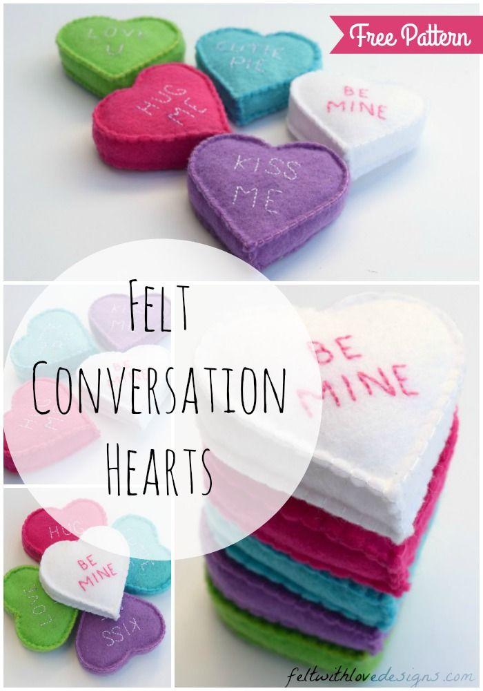 Felt Conversation Hearts Tutorial + Free Pattern | Fieltro, Costura ...