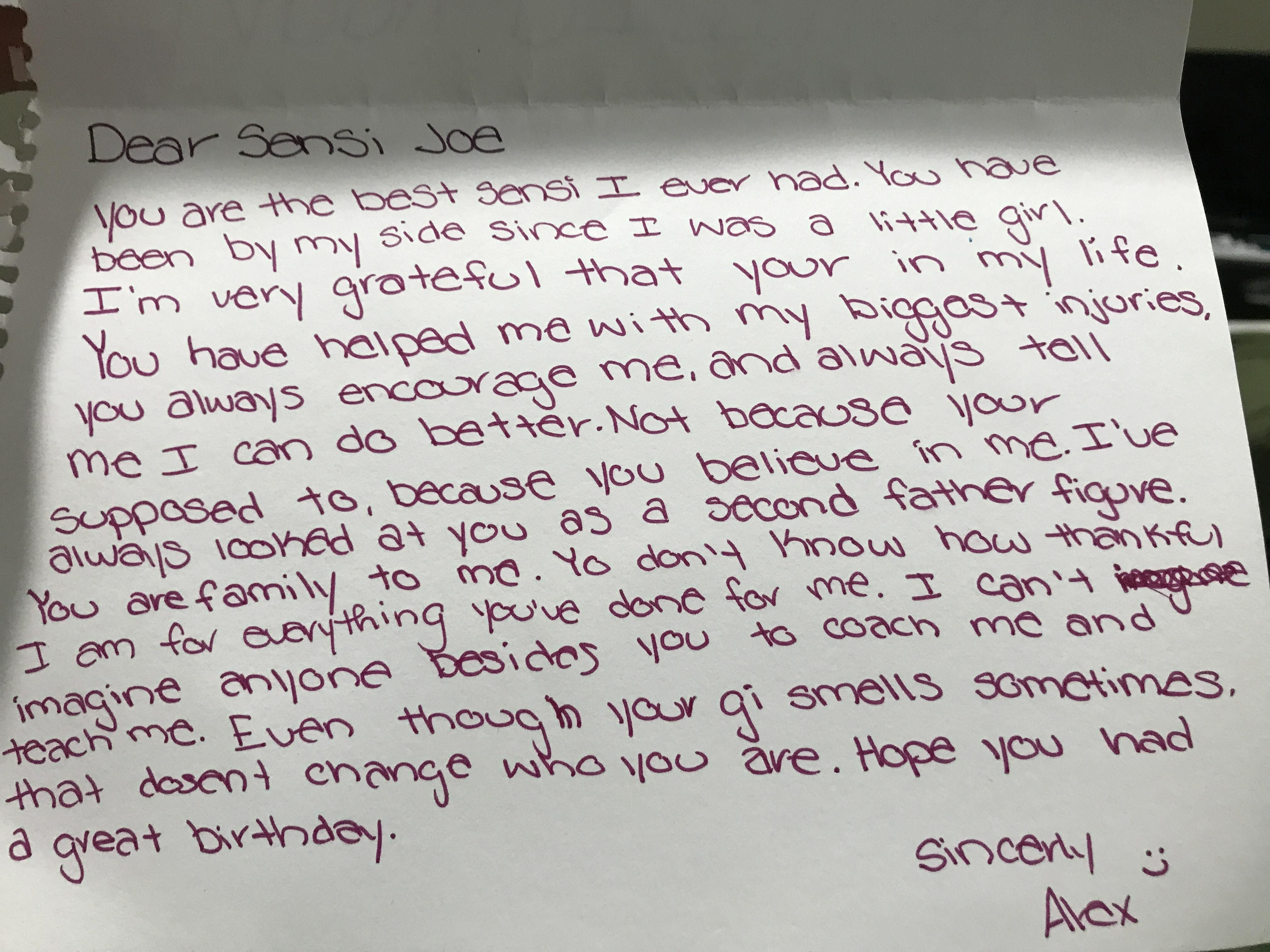 A Birthday Card From One Of My Judo Students Http Ift Tt 2rbsaoy
