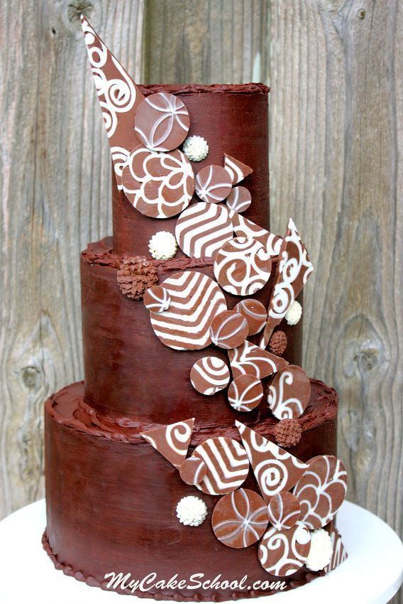 Add Drama with Chocolate Accents! Cake Decorating Video Tutorial #cakedecoratingvideos