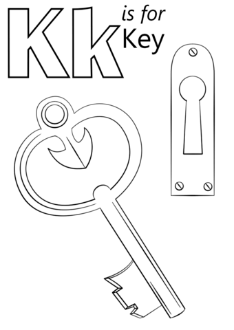 Letter K is for Key coloring page from Letter K category. Select ...