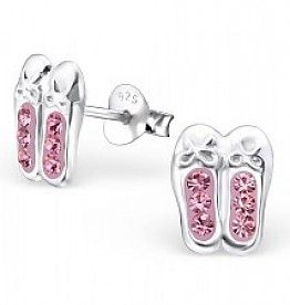 Ballet Shoe Earrings - Sterling Silver with Sparkly Crystals hFgV0cwuPz
