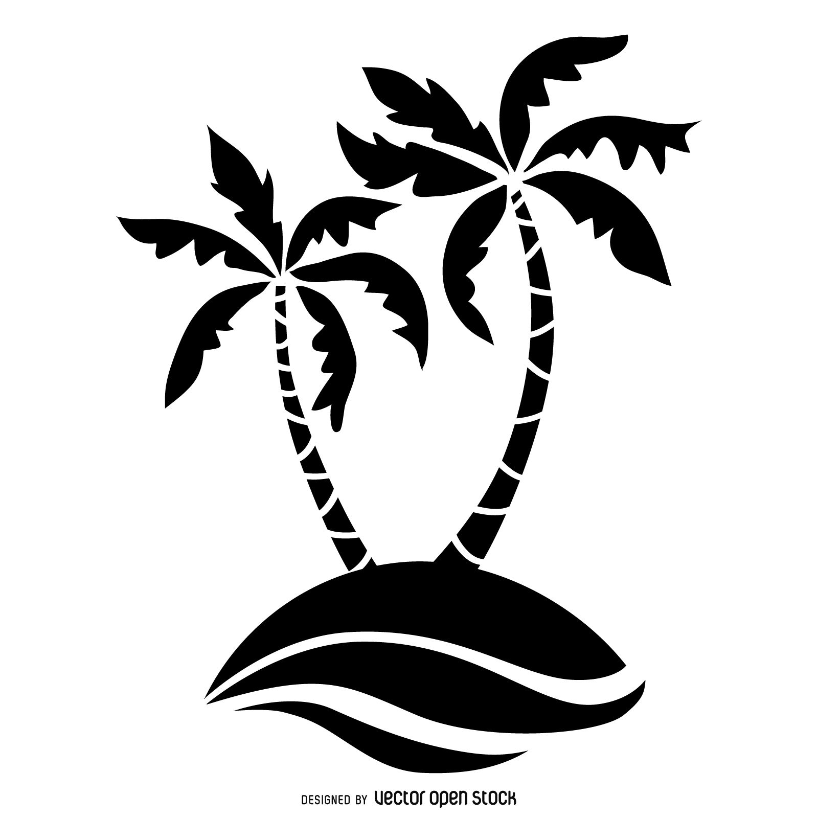 Flat illustrated palm trees in black over white Silhouette includes