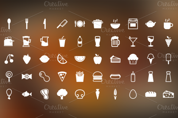 snack time is a set of 50 food related pictograms designed on a 32x32 pixel grid