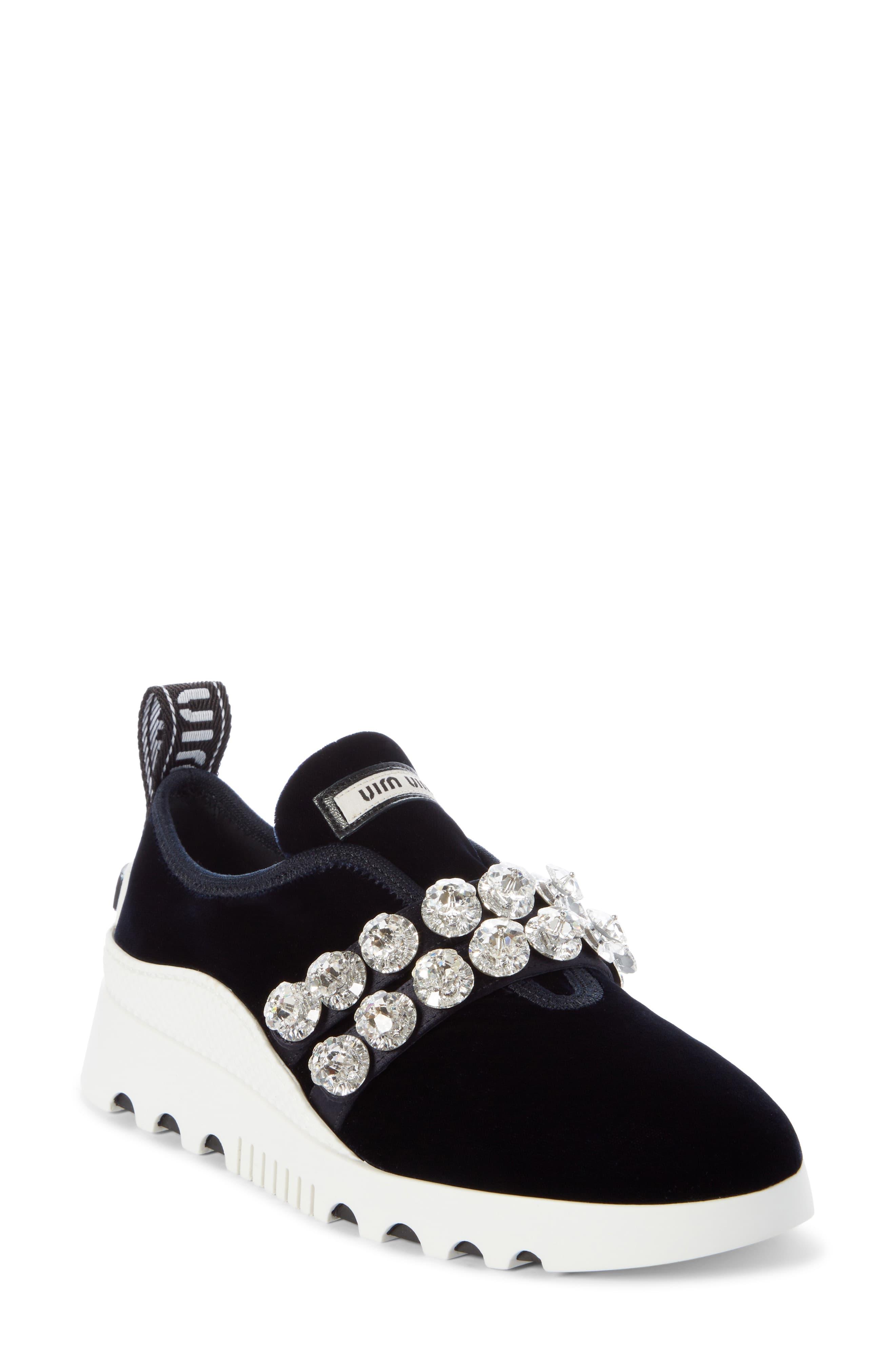 Miu Miu Jewel Strap Slip On Sneaker (Women | Ankle strap