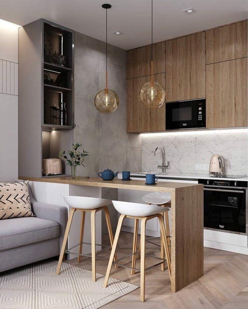 Современный, легкий и стильный интерьер однокомнат