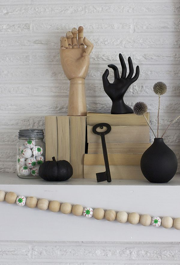 Neutral Halloween Decor for the Fireplace Mantel Mantels and