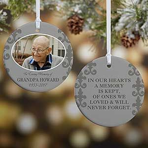 IN LOVING MEMORY Personalised Engraved Memorial Christmas Decoration /& Gift Bag