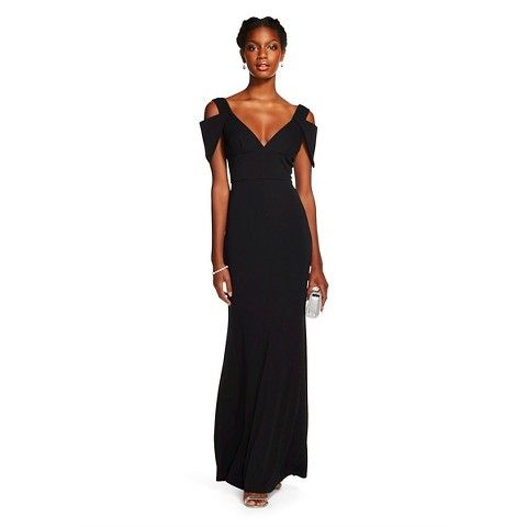 ABS Collection Women's Deep V-Neck Traingle Sleeve Gown - BLACK
