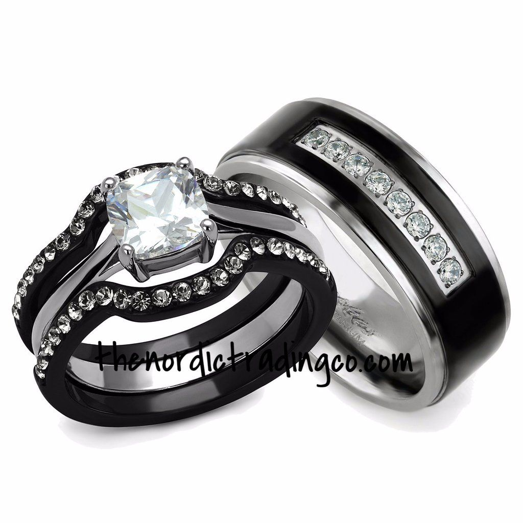 His Hers Engagement Wedding Ring Set Black Silver Ion Plated 3