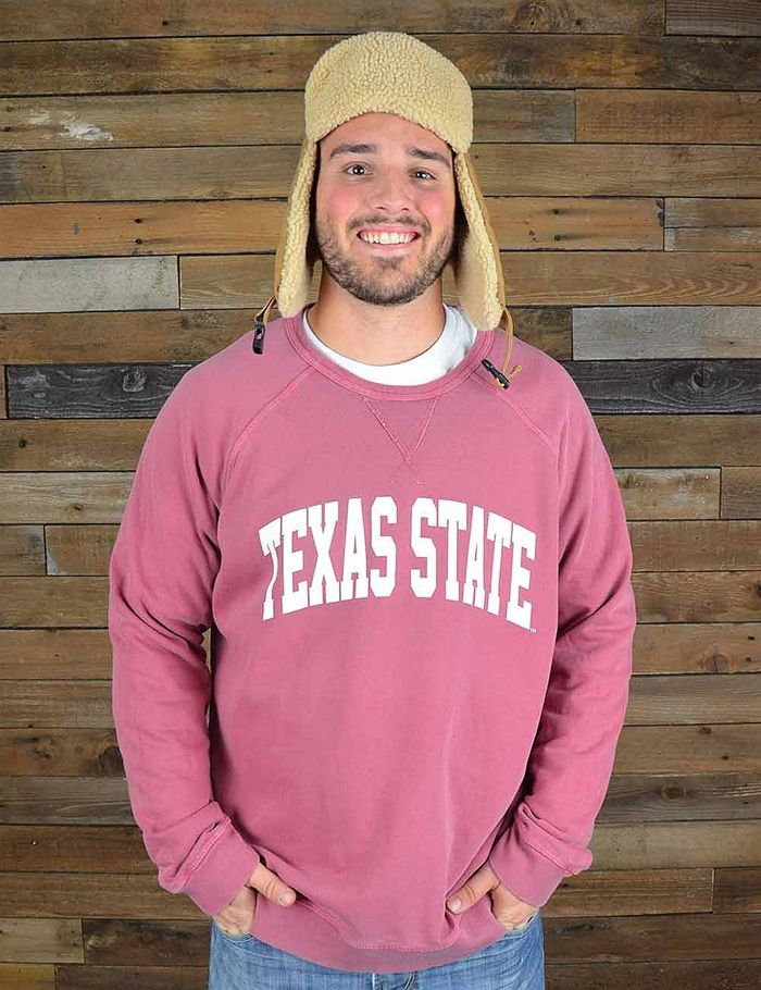 Keep warm in this great new Texas State crew neck sweatshirt, a Barefoot Campus Outfitter exclusive! Go TXST!