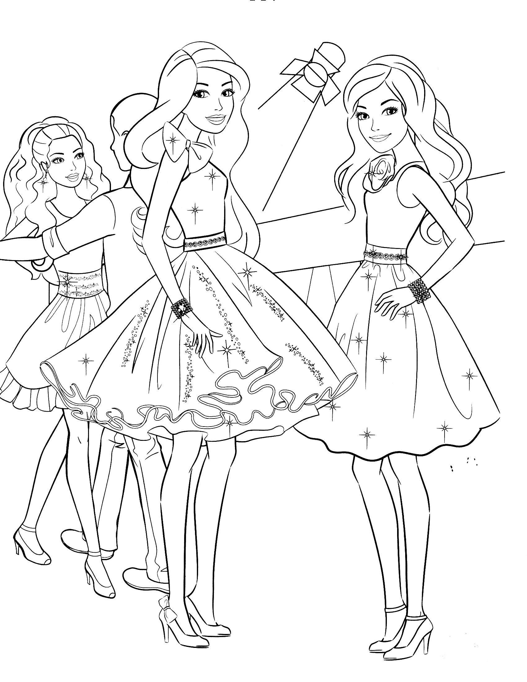 85 Barbie Coloring Pages for Girls Barbie Princess Friends ...