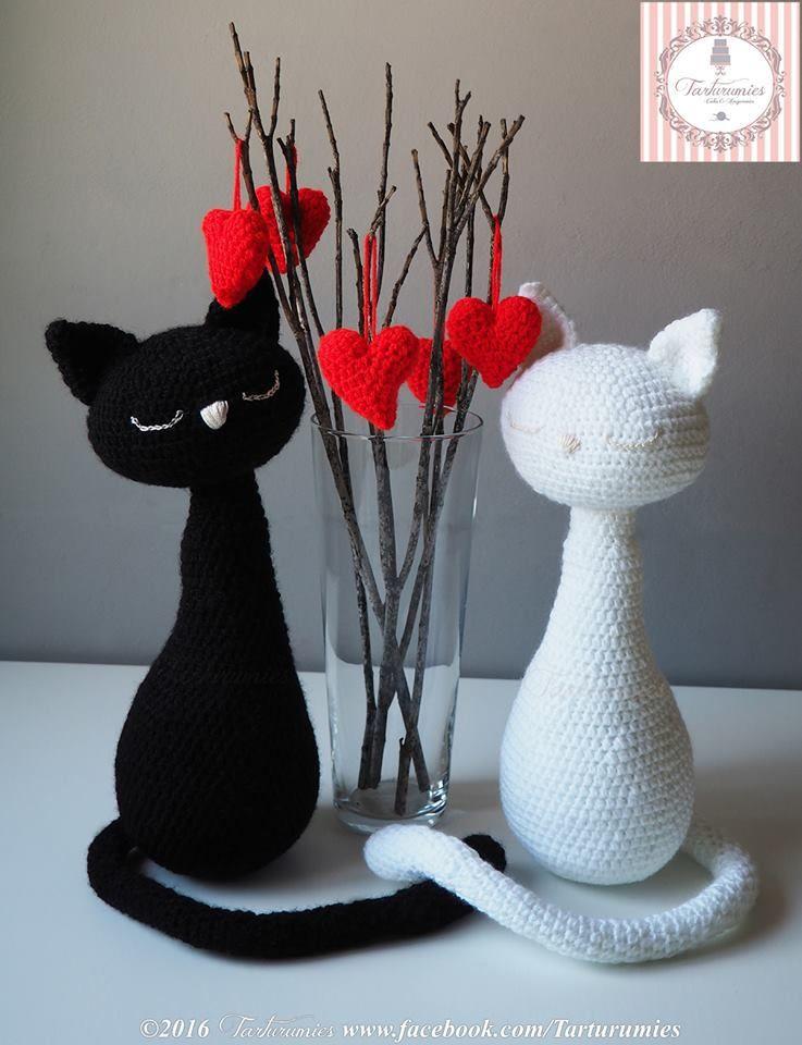 Pareja de gatos amigurumi para el día de los enamorados | Pareja ...