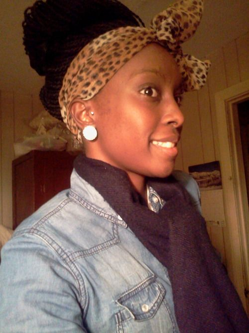 Senegalese Twists In A Bun And Scarf Beautiful Natural Hair