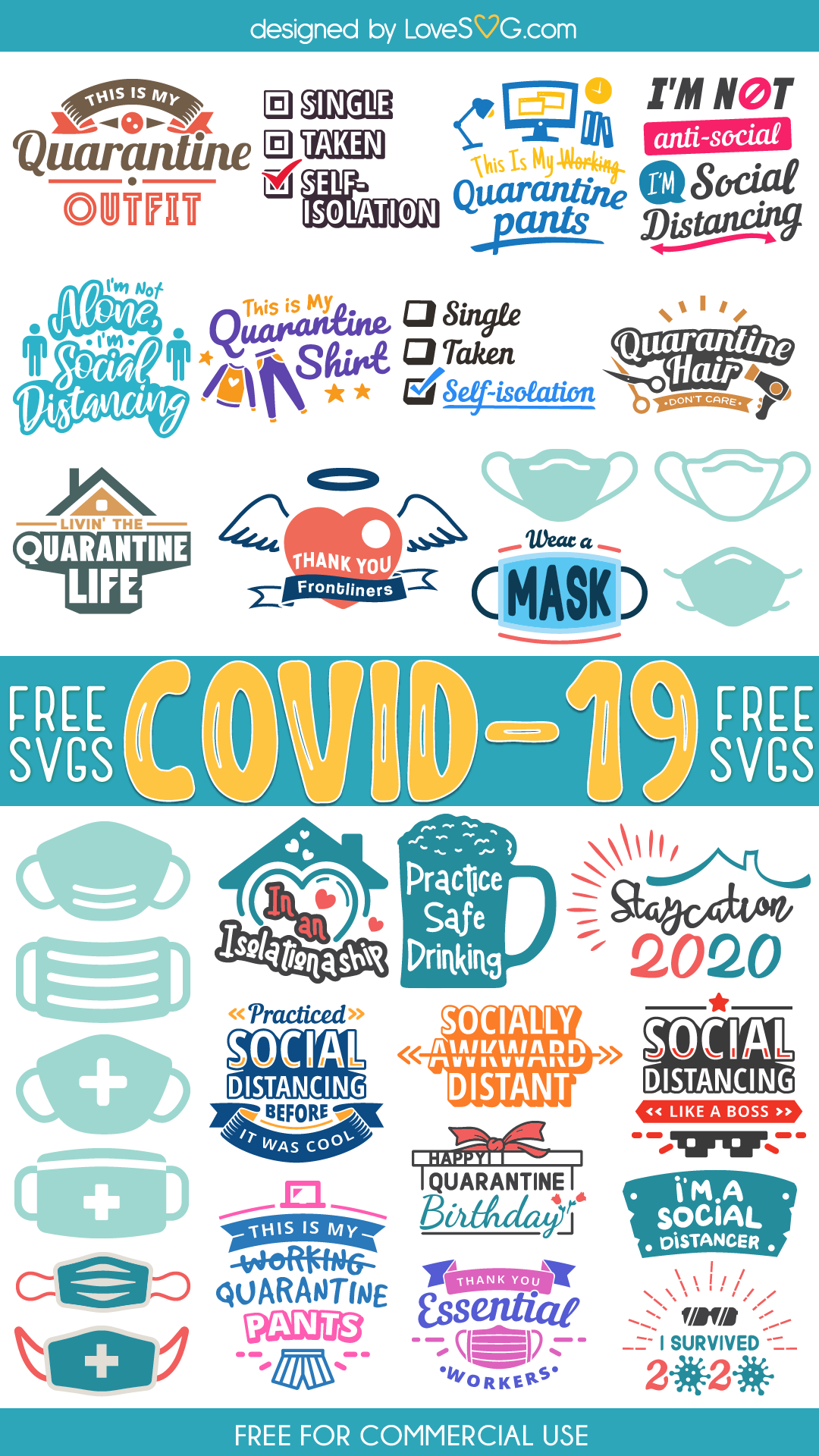 Free COVID-19 SVG Cut Files for Commercial Use