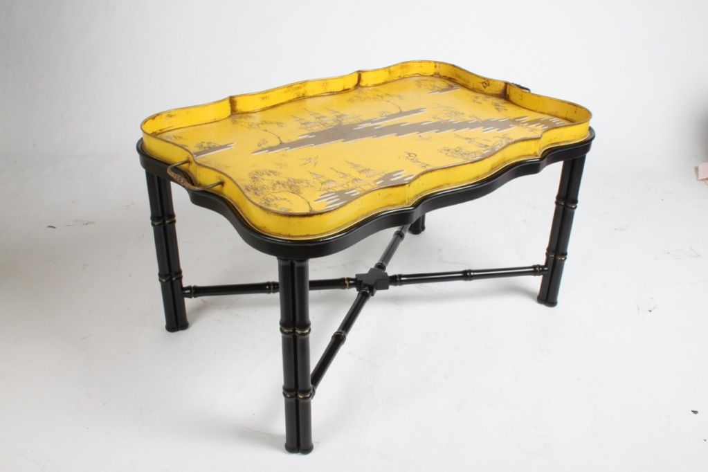 Italian Tole Chinoiserie Tray Cocktail or Coffee Table