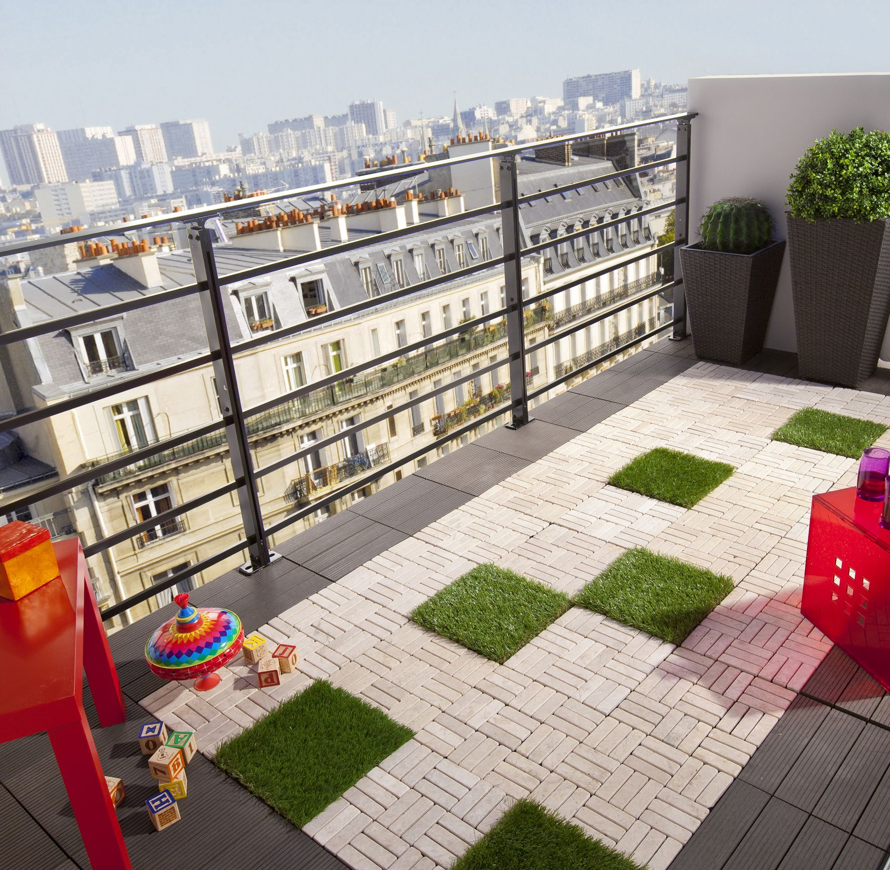 Balcon avec herbe synthétique Extérieurs Pinterest