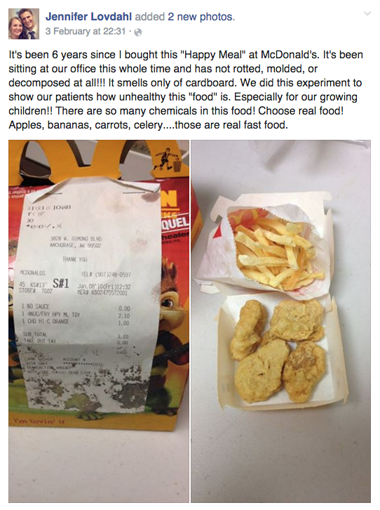 this is what a happy meal looks like six years after it was bought