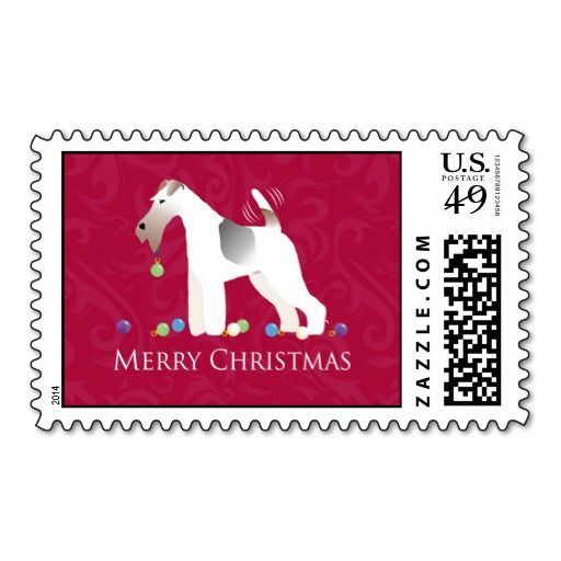 fox terrier merry christmas postage stamp a find more breed collection here a breedcollection