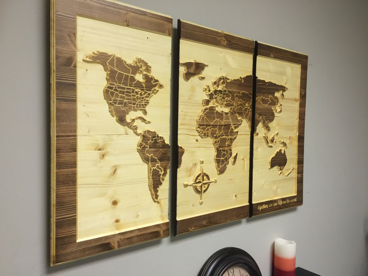 Wood Wall Art, CARVED World Map, Home Decor, Customize, Wooden, 3