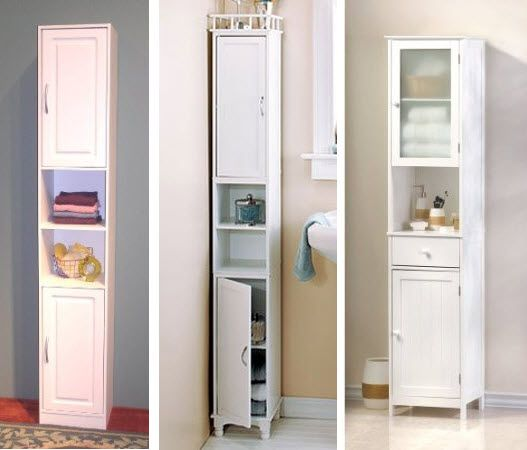 ... Narrow Bathroom Storage Cabinets Pictured Left 4d Concepts