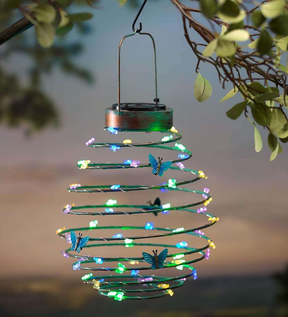 Decorative Outdoor Lighting: Hanging Solar Lantern Decoration, Butterfly