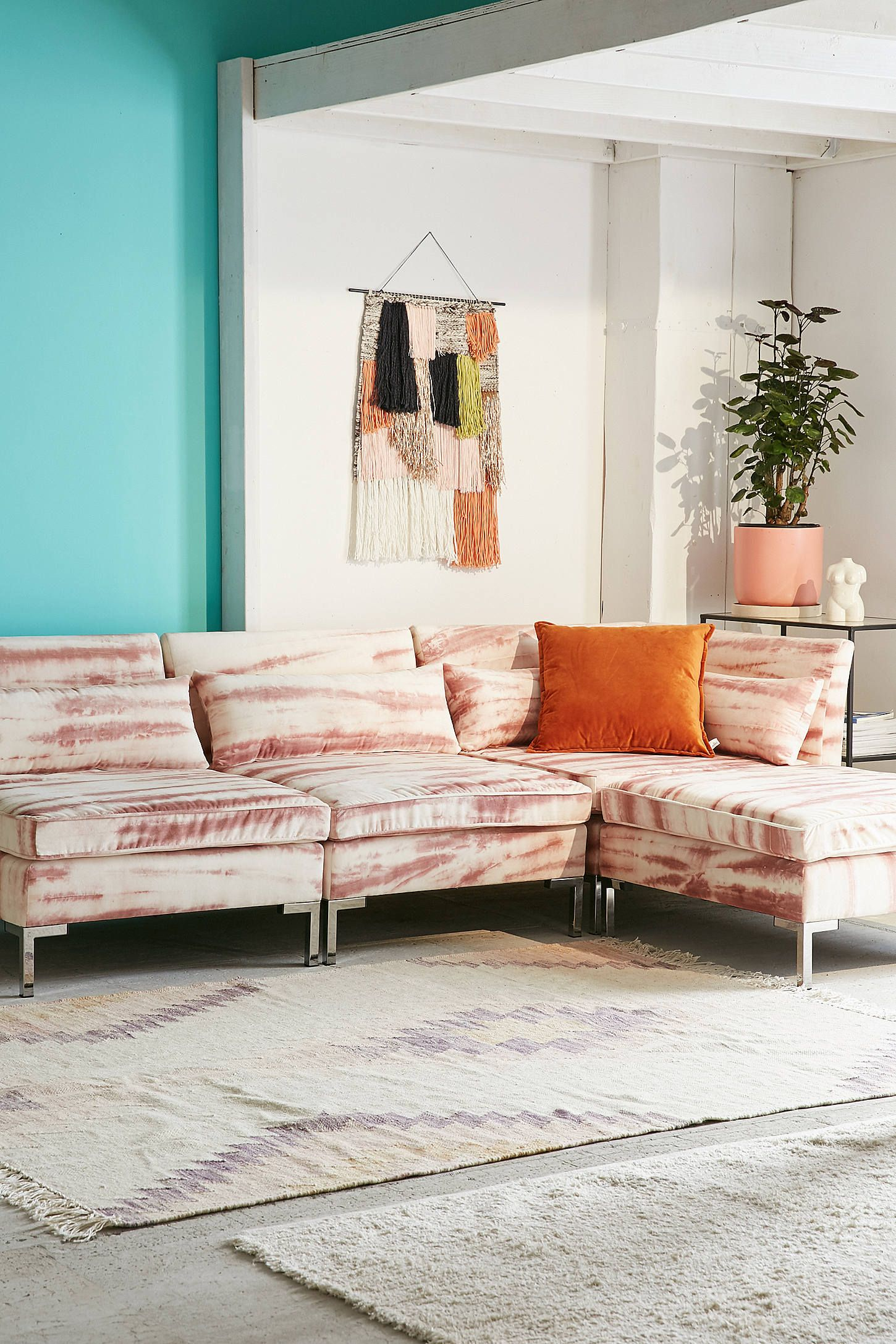 Cecilia Printed Velvet Sectional Sofa Urban Outfitters