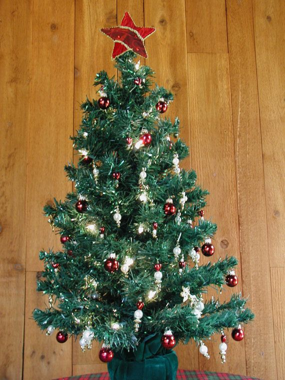 table top christmas tree fully decorated pre lite with 50 clear lights 3 feet - Small Fully Decorated Christmas Trees