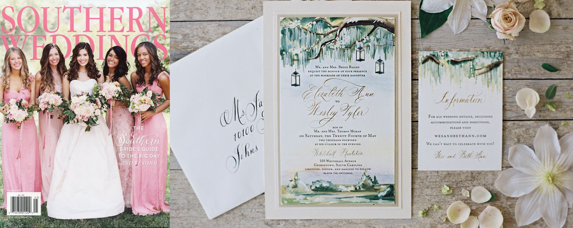 Hand Painted Live Oak Wedding Invitation Wedding Invitations