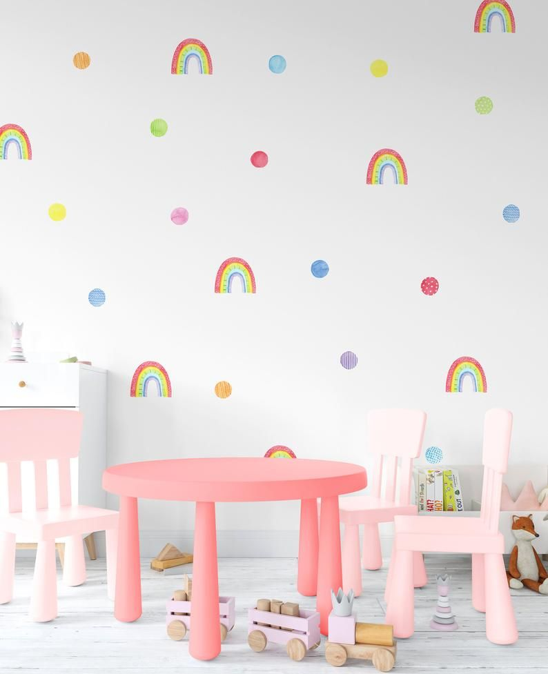 Watercolor Rainbow Wall Decals Bright Girl Room Stickers Rainbow
