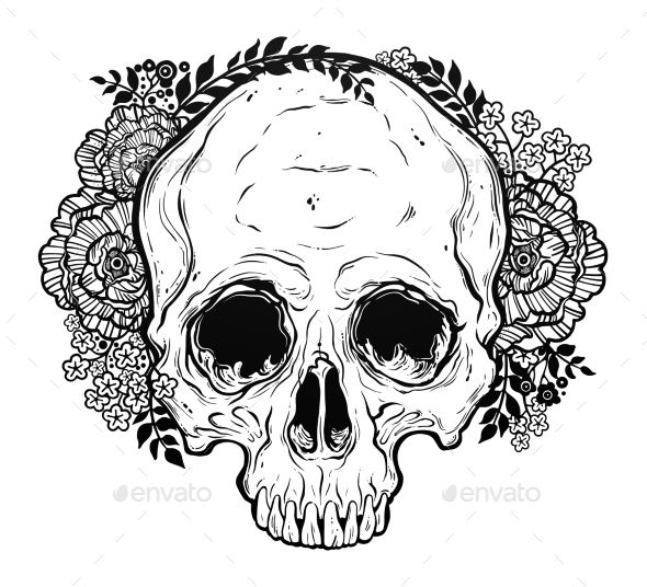 human skull hand drawn tattoo style with flowers isolated gothic download https
