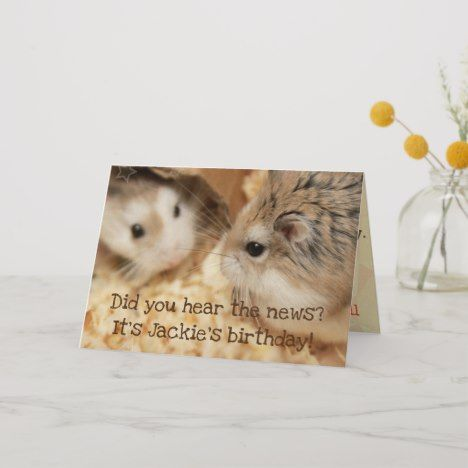 Hammyville Cute Hamster Happy Birthday Card Zazzle Com Cute Hamsters Happy Birthday Cards Kittens Cutest