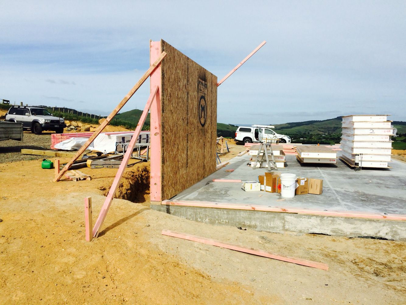 Wall one under way. Sip house, Sips panels, Waikato