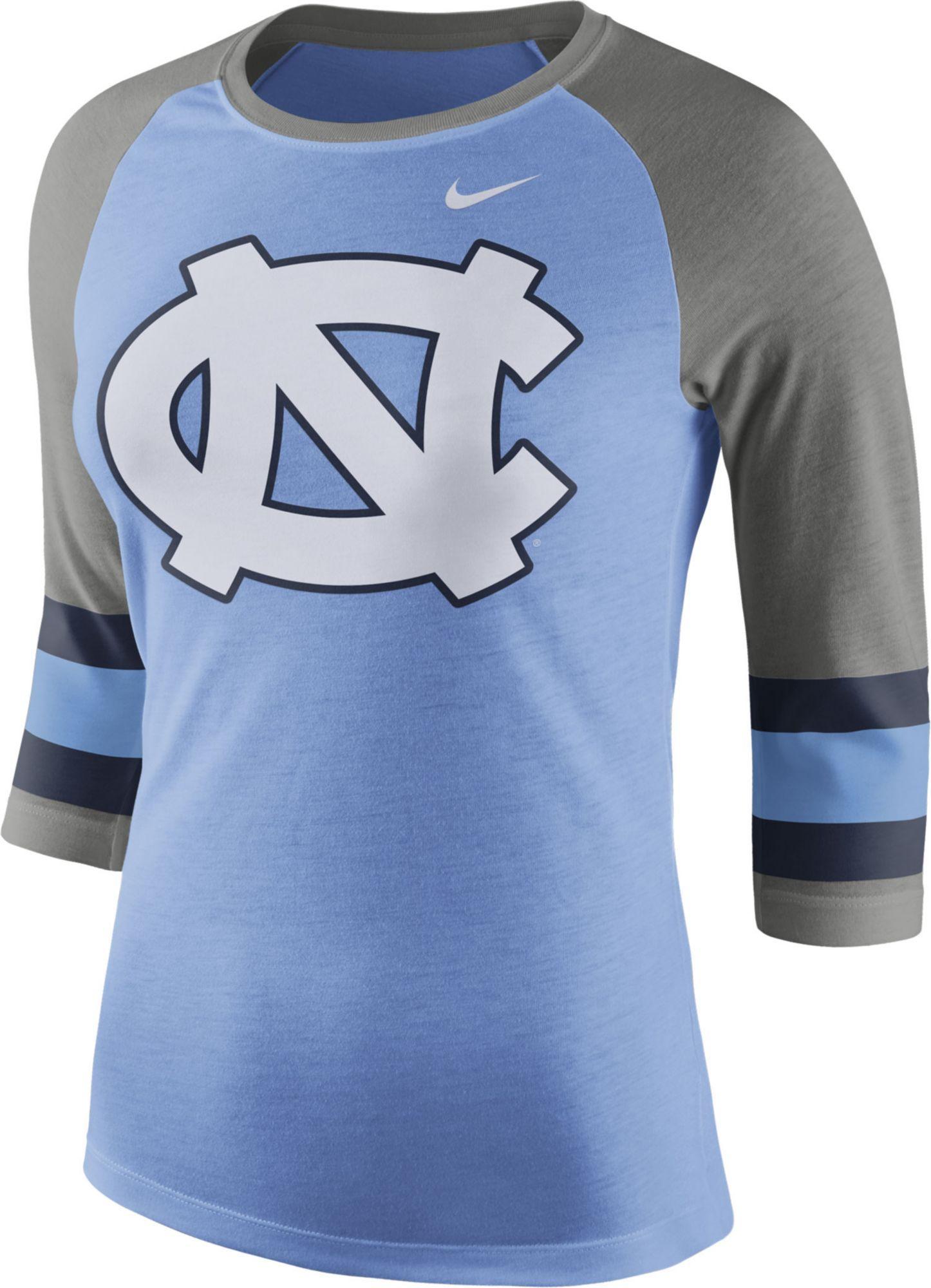 Nike Women s North Carolina Tar Heels Carolina Blue Grey Stripe Sleeve  Three-Quarter Raglan Shirt da38f4c3ca
