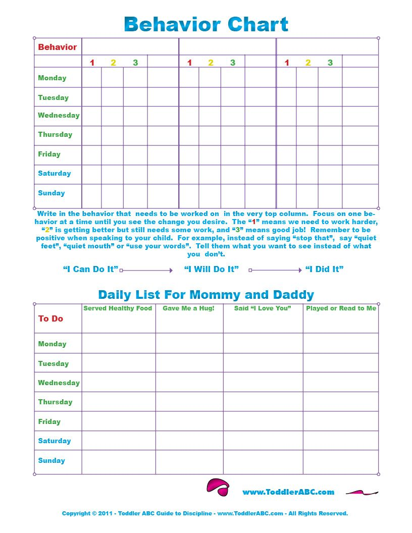 Free printable toddler behavior chart for and year olds in color also rh pinterest