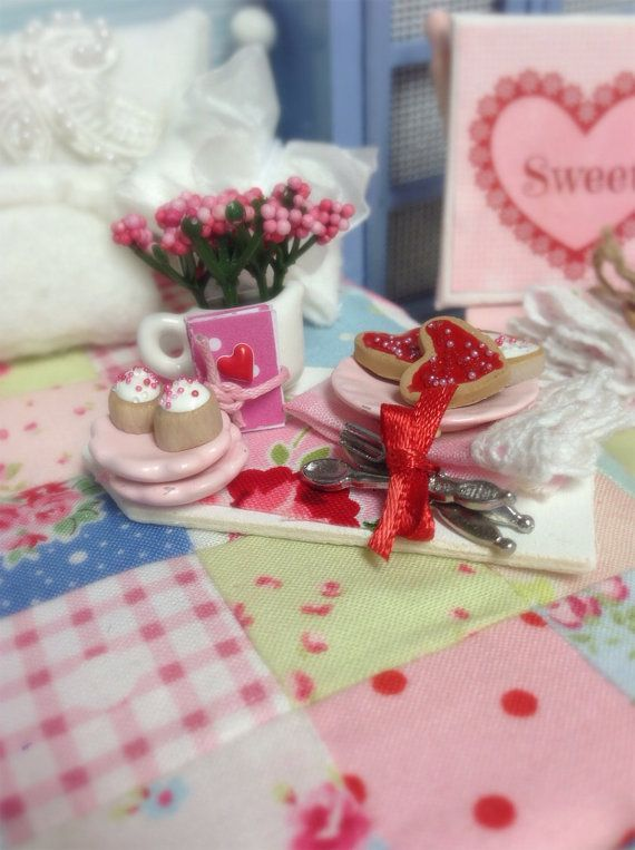 Valentines and Cookies Board miniature by RibbonwoodCottage, $24.50