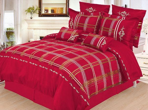 7pc Burgundy Red White Gold Layered Striped Design Duvet Cover Set Queen King Duvet Sets Duvet Cover Sets King Duvet Set