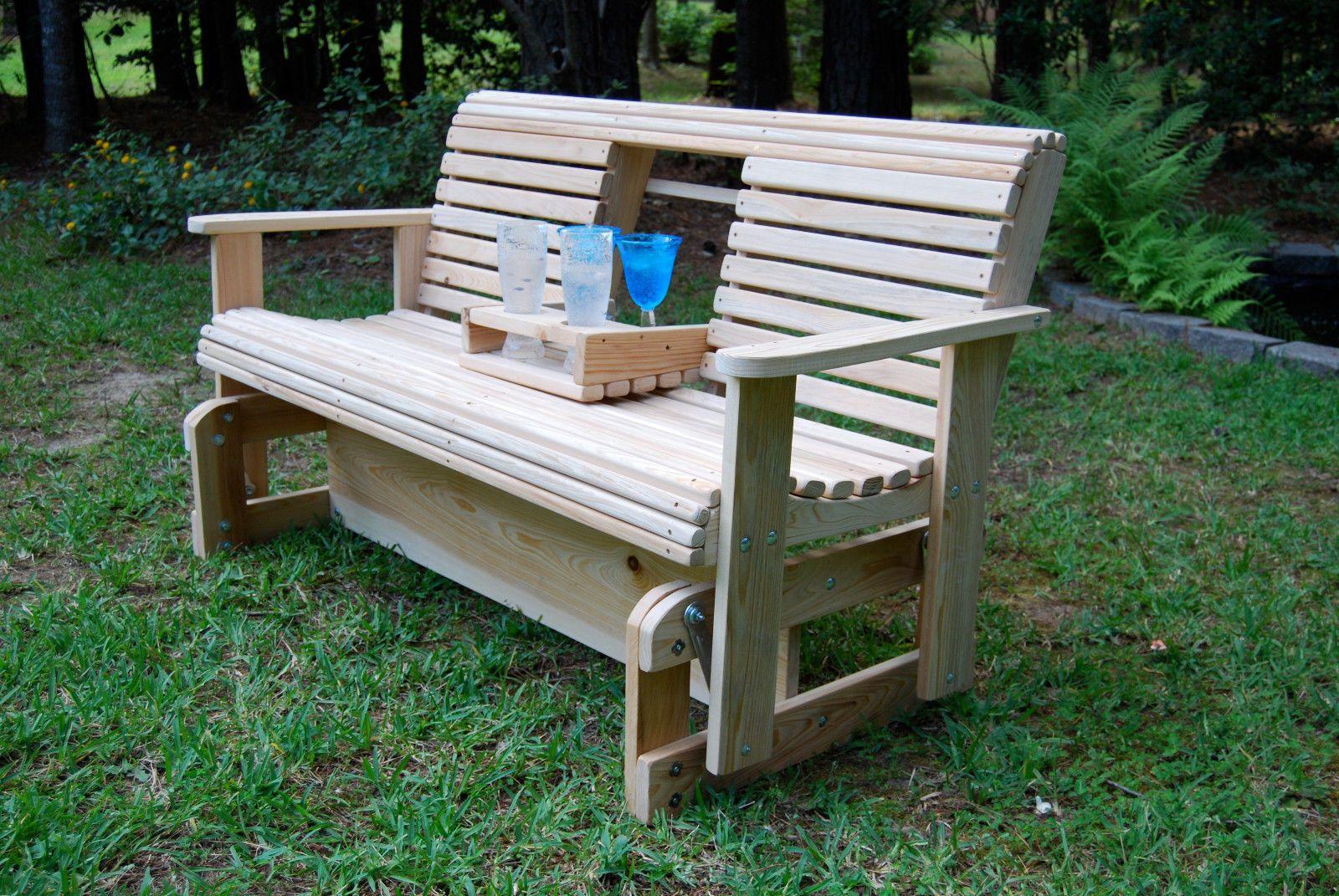 5 Cypress Wood Wooden Freestanding Glider Slider Porch Yard Bench