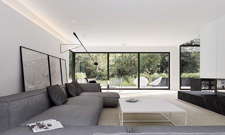 Decoración de interiores modernos en gris y blanco Sofás grises
