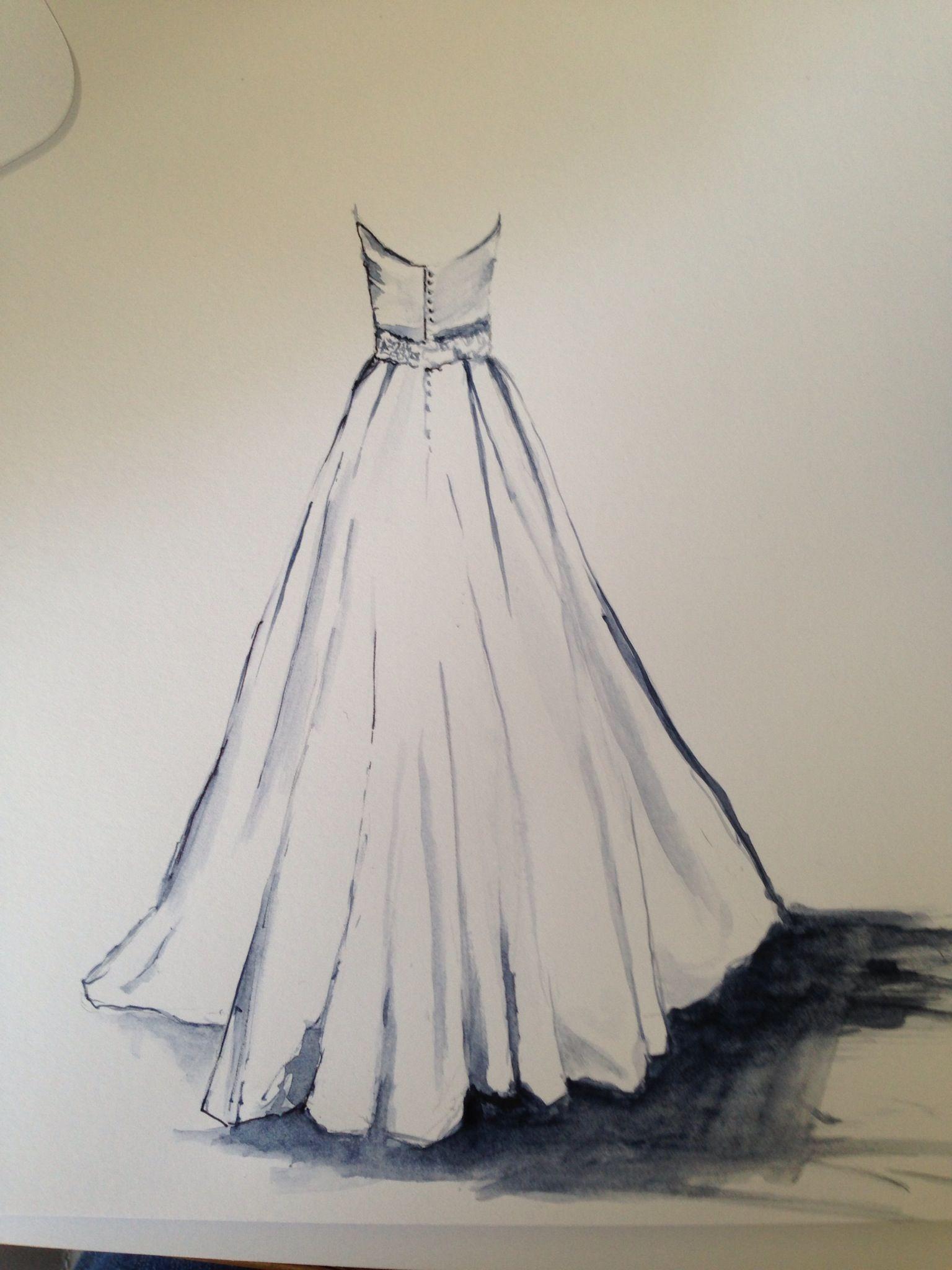 Beginning sketch of bridal gown creative inspiration pinterest