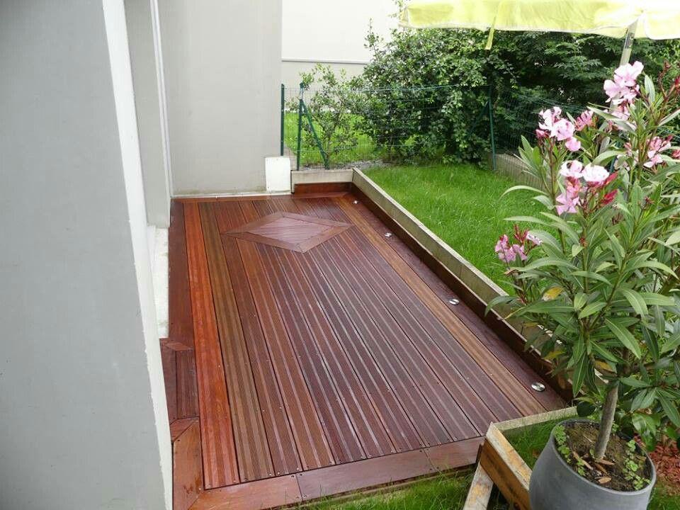Terrasse 9m2 en bois ipe avec désign et spot led de sol ...