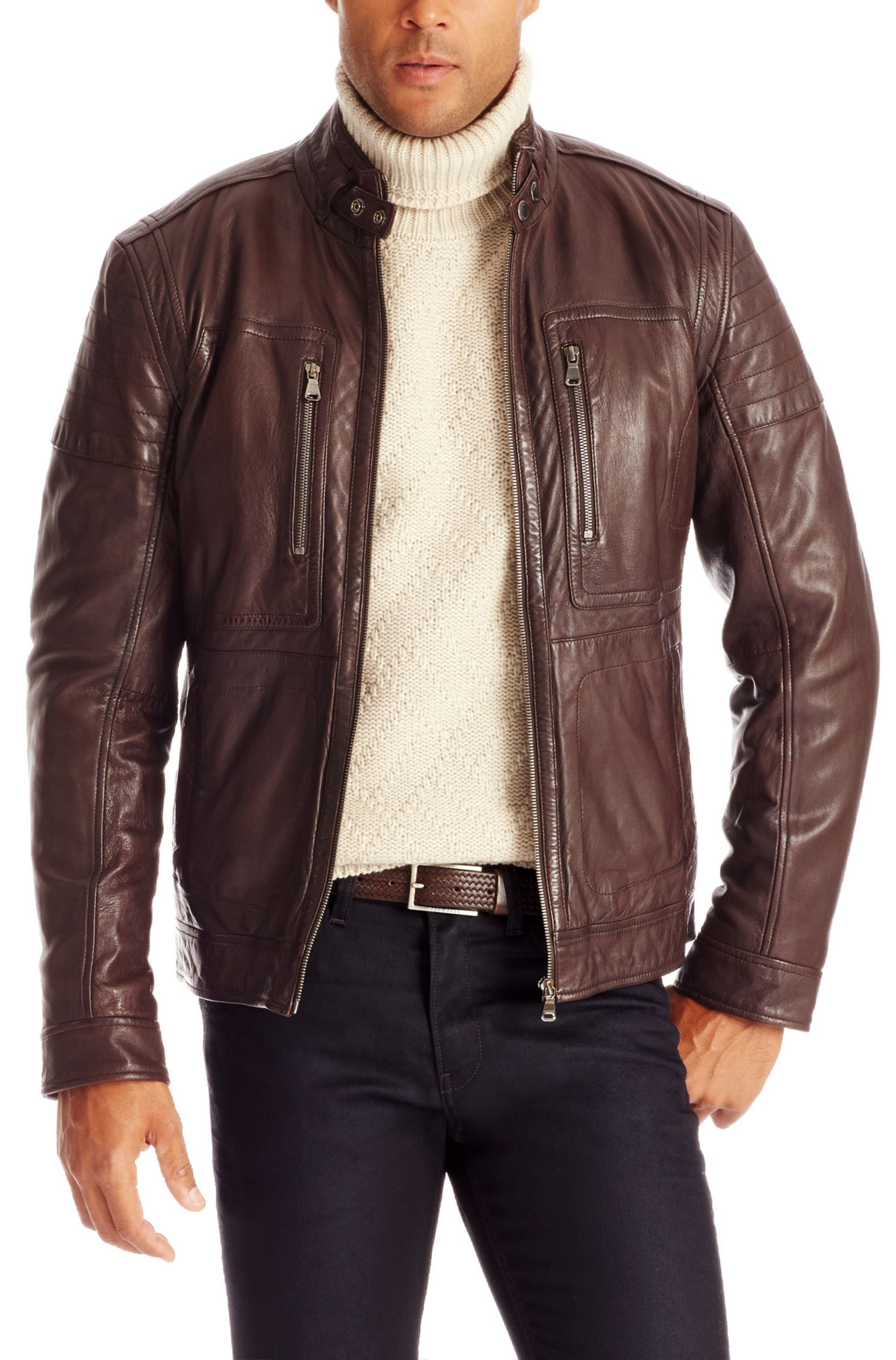 91d7b8378 Brown Leather Jacket Piel Chamarra Gento' Dark Café De qzt1RwUw