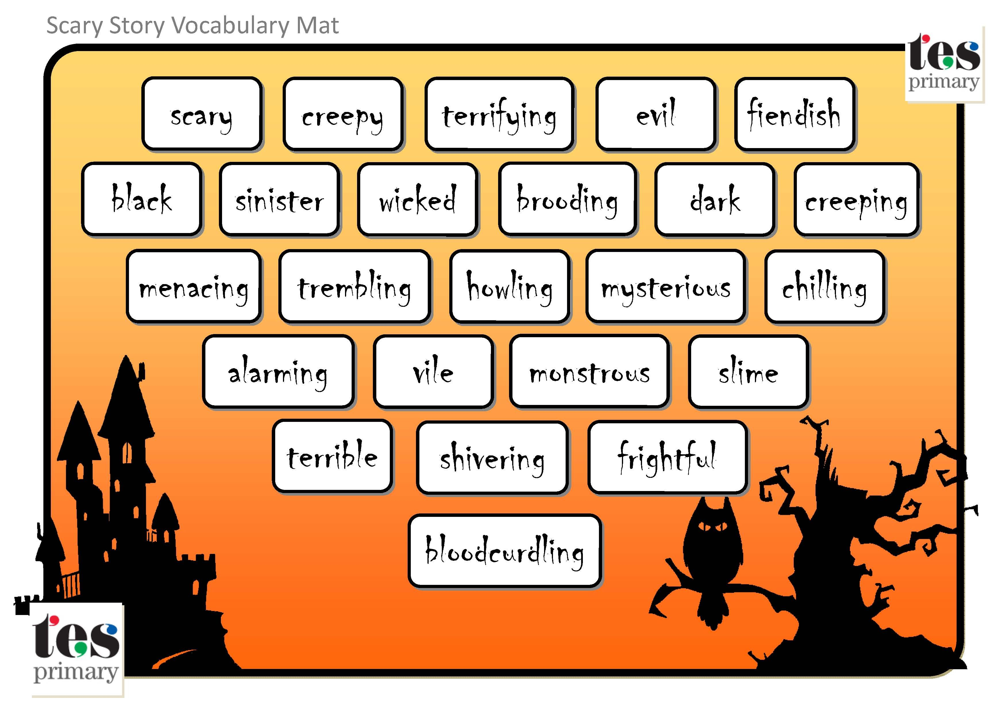 Vocabulary Mats With A Scary Halloween Theme 24 Themed