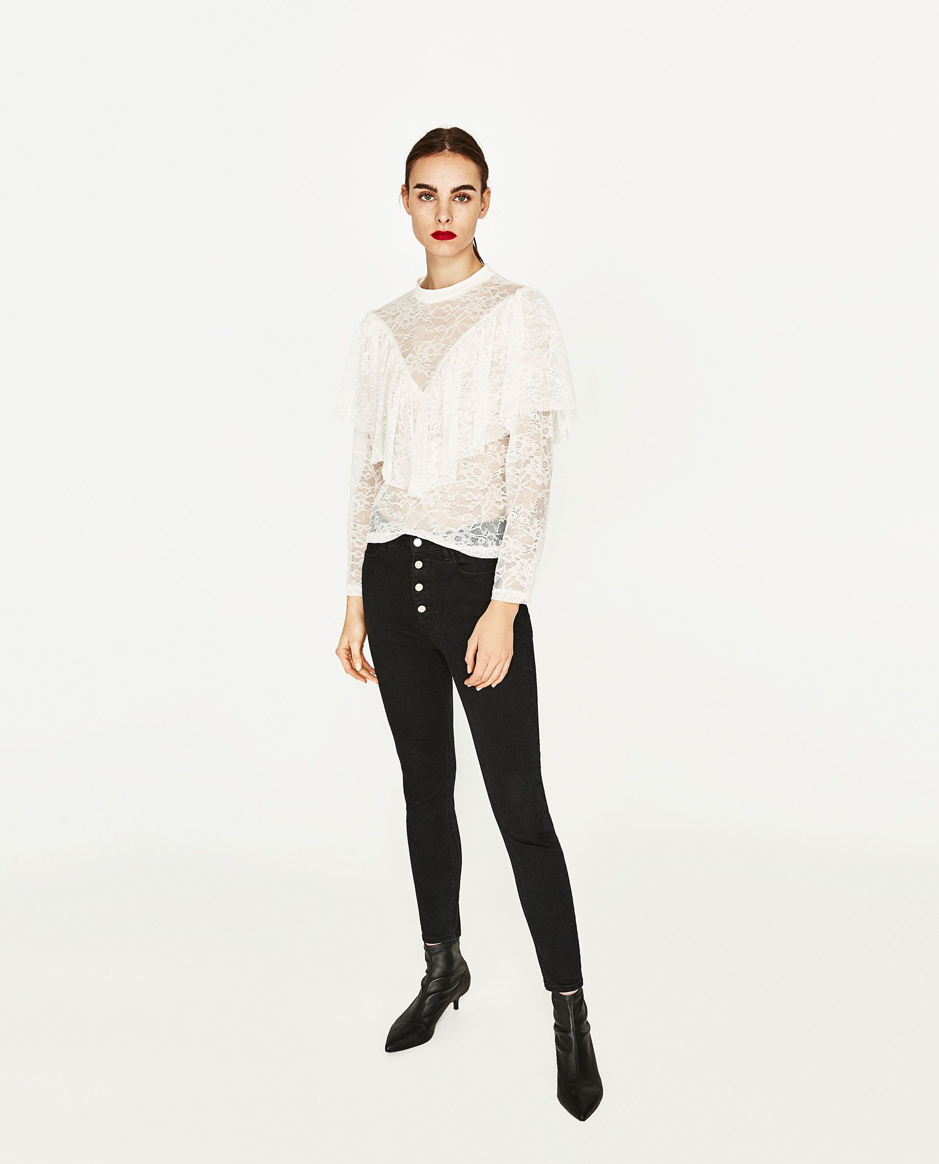 Frilled lace blouse lace blouse lace tops designs