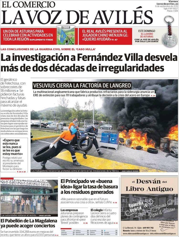 La Voz De Avilés 6 De Septiembre De 2019 Guardia Civil La Voz Portadas De Periodicos