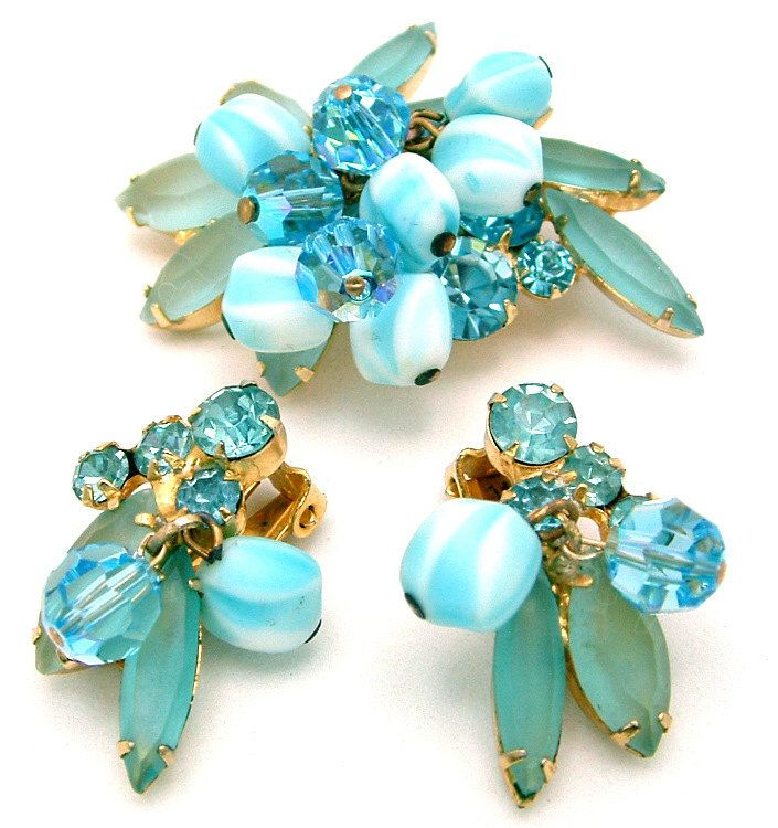 Vintage Juliana Brooch Earrings Set Frosted Aqua Navettes, Striped & Faceted Dangle Beads by DeLizza and Elster. $85.00, via Etsy.