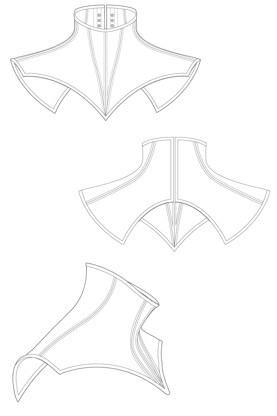 Volante neck corset flat drawing by Ralph Pink | Things to make ...