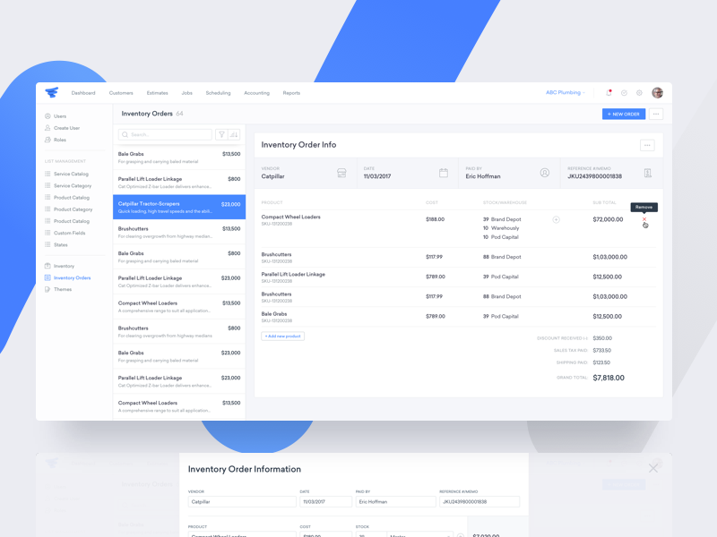 ServiceFusion - Inventory Order Details | Dribbble | Web ui